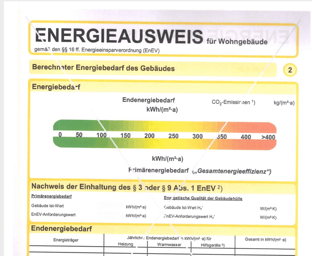 Eigentumswohnung kaufen: Energieausweis Bild Beispiel