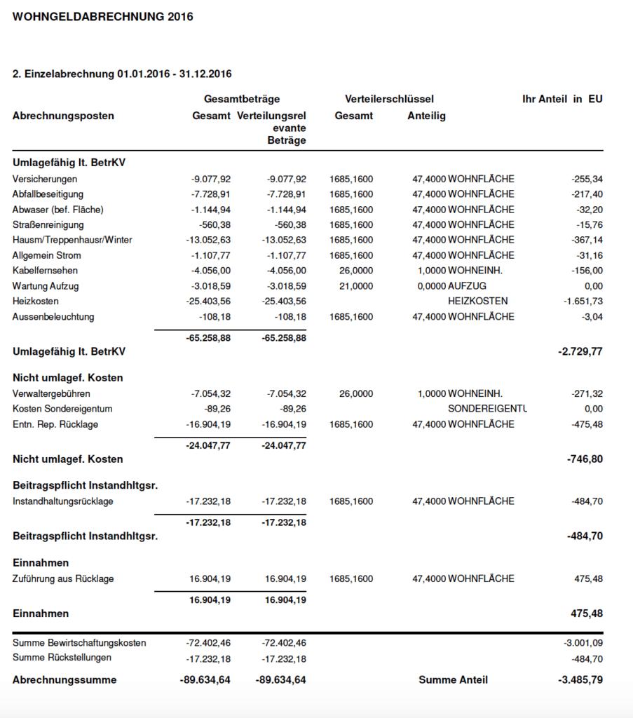 Eigentumswohnung kaufen welche Unterlagen anfordern: Nebenkostenabrechnung